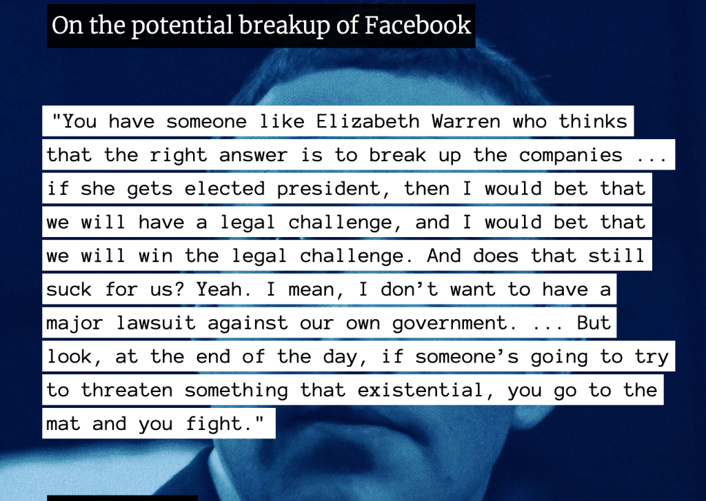 Mark Zuckerberg on the potential breakup of Facebook