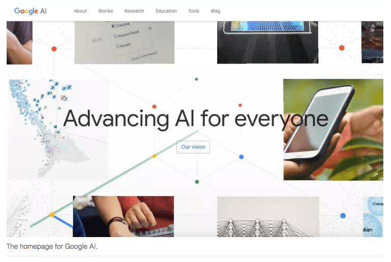 Homepage of Google AI Division
