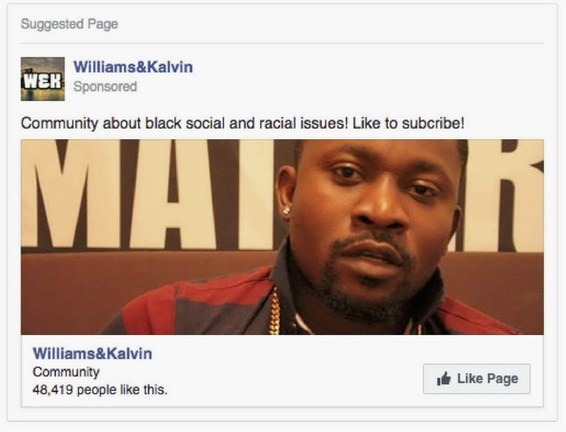 Russian Facebook Ad - Williams & Kalvin Ad 01