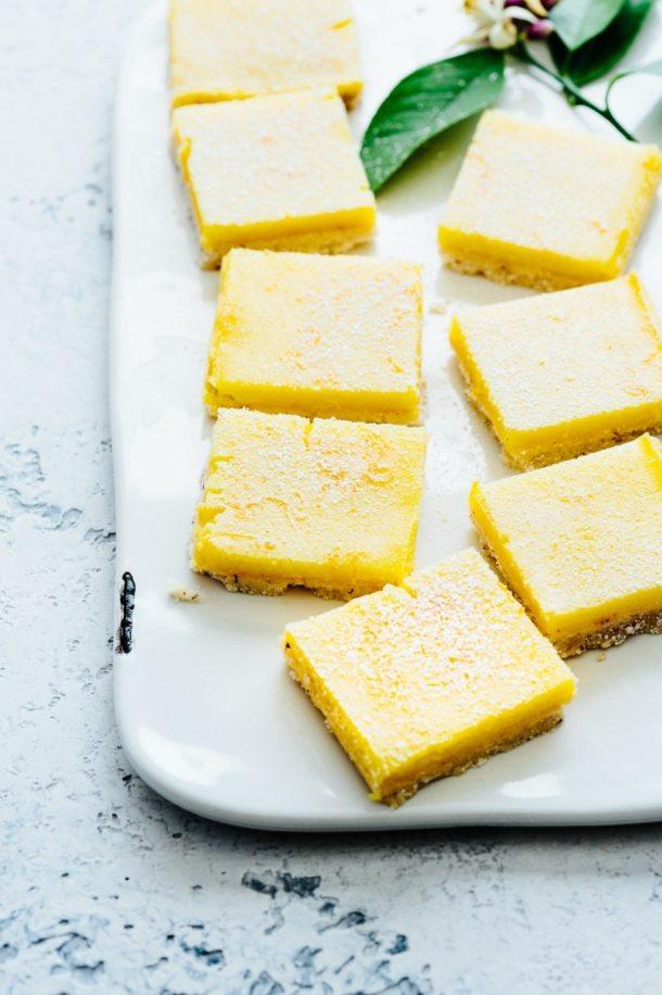 Plate of Meyer lemon bars