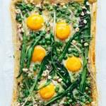 baked ramp fava bean pea and egg spring tart