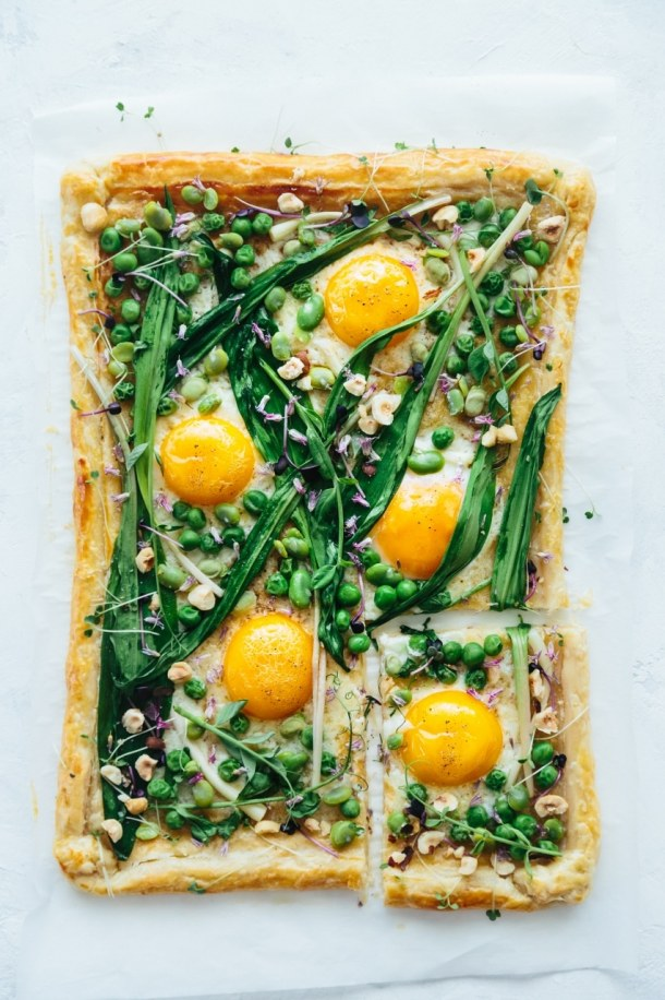 baked ramp fava bean pea and egg spring tart
