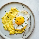 Fresh corn polenta with crispy fried eggs