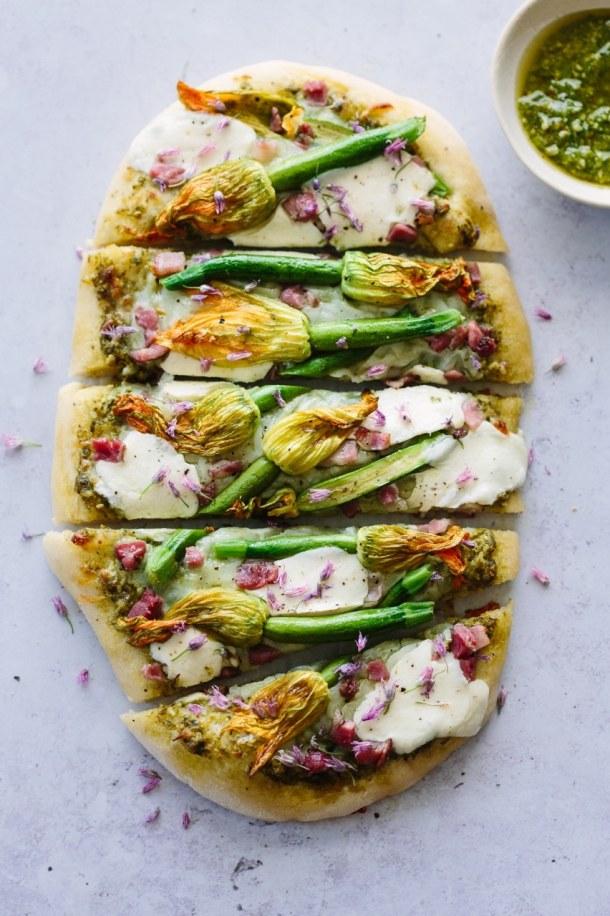 zucchini blossom pistachio pizza