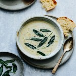 Jerusalem artichoke soup with truffle oil and fried sage leaves