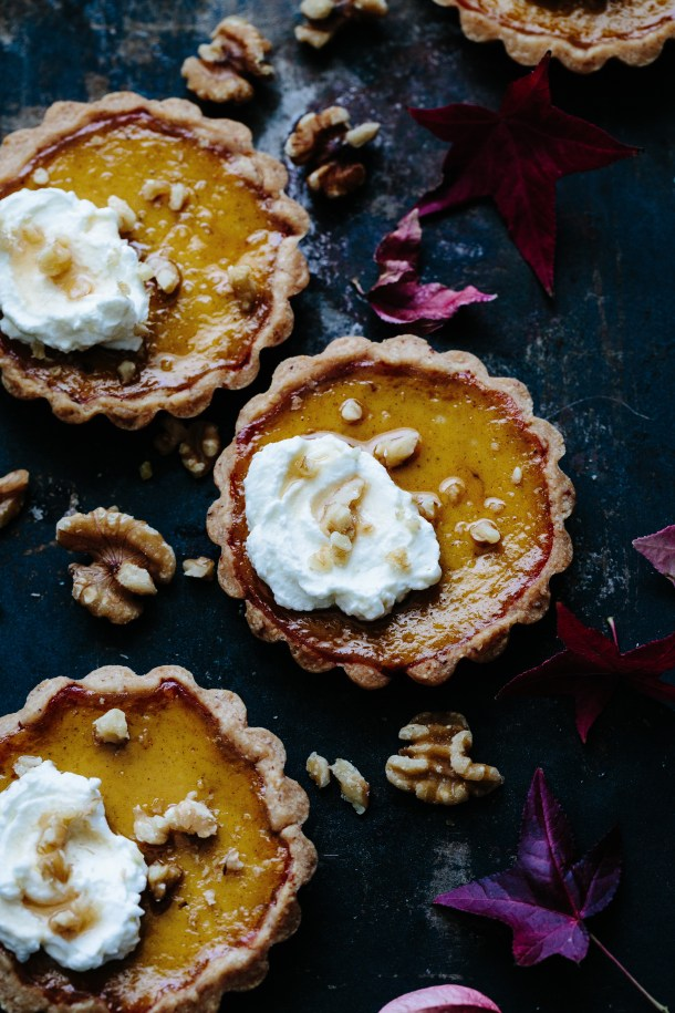 Red kuri mascarpone walnut tarts