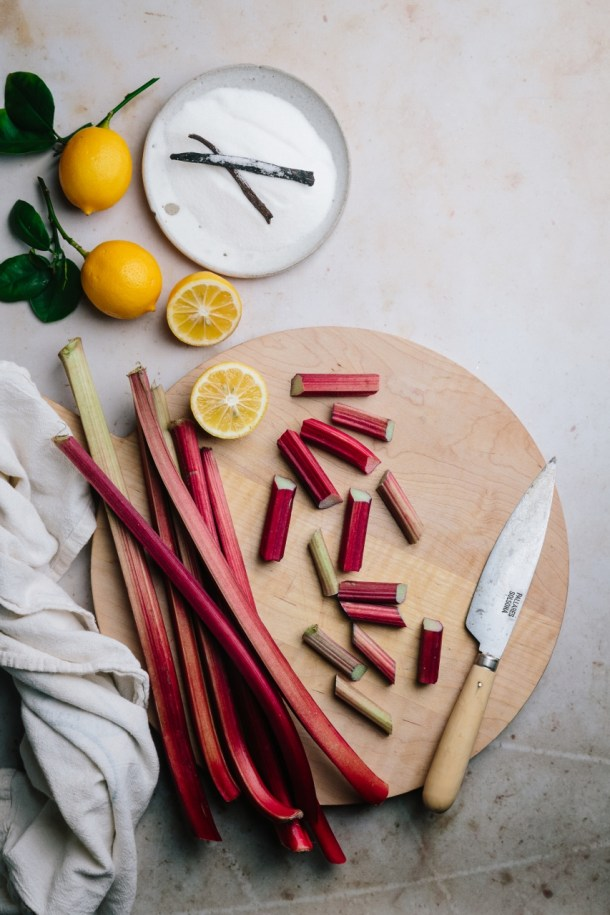 ingredients for vanilla poached rhubarb