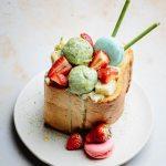 Passion fruit matcha Japanese brick toast