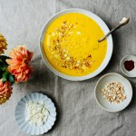 Roasted carrot and cashew soup with feta