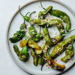 Grilled shishito peppers with bonito flakes