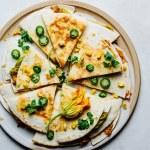 Corn zucchini blossom quesadillas