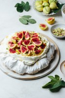 fig pavlova with orange blossom cream, pistachios, and honey