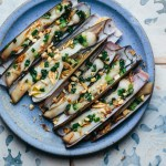 Vietnamese Grilled Razor Clams With Scallion Oil
