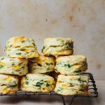 baked ramps scones stacked on a cooling rack