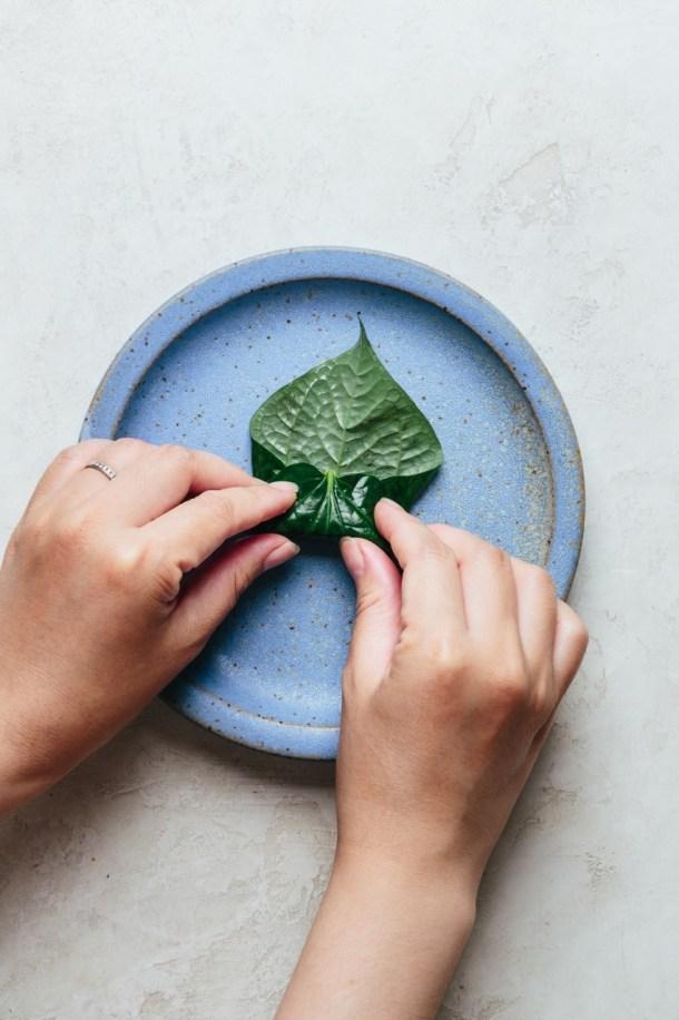 hands rolling leaf toward the top to form cylinder shape