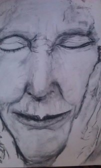 Jane Goodall. Graphite and charcoal on paper.