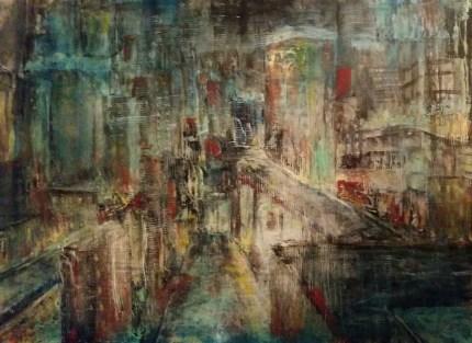 """""""Broken Window Theory """" Oil on Wood 12"""" x 16"""" by Cat Jones"""