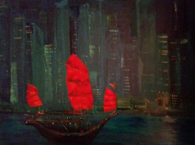 "Hong Kong, 18"" x 24,"" oil on wood. SOLD"