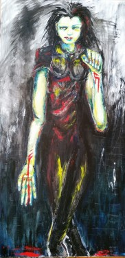 "Gaslit Stigmata. 24 x 48"". Oil and acrylic on canvas. (SOLD)"