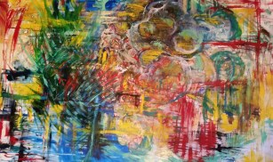 "Fukushima Fallout 24"" x 36"" Oil and acrylic ink on canvas"