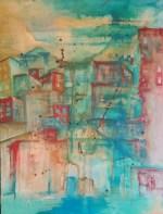 """Western Childhood Under Glass.""18 × 24"".Oil on wood. By Cat Jones (SOLD)"