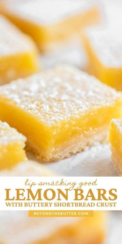 Pinterest images of super easy lemon bars from scratch | All Images © Beyond the Butter®