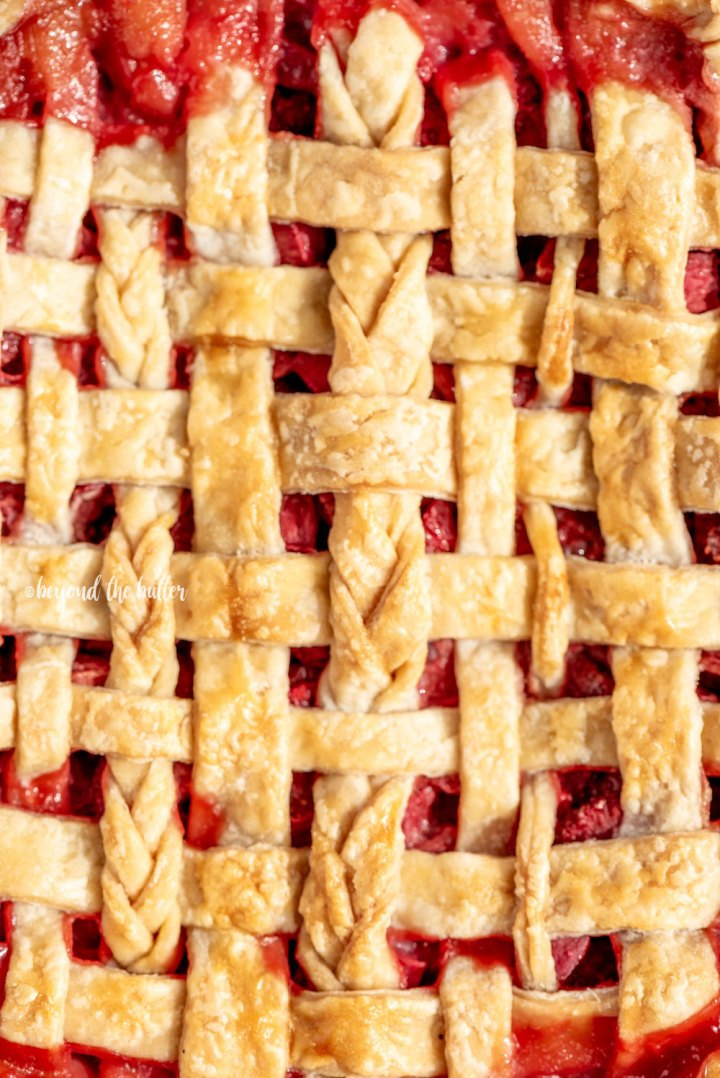 Strawberry Rhubarb Pie with a Homemade Buttery, Flaky Crust | All Images © Beyond the Butter, LLC