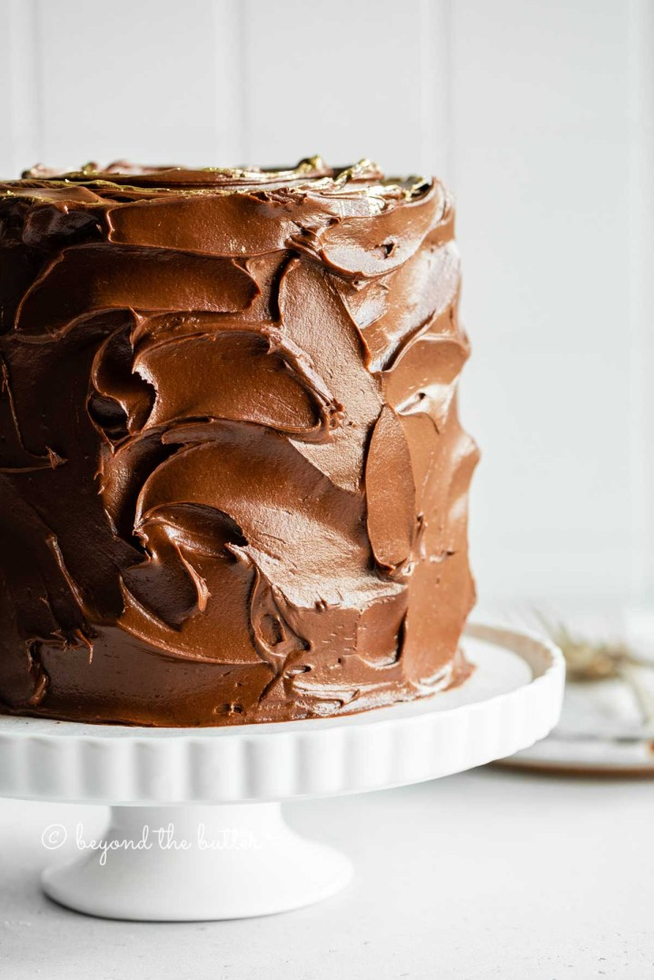 Image of chocolate zucchini cake with chocolate chips on a white cake stand | All Images © Beyond the Butter™