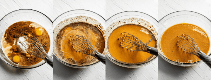 Stages of whisking together pumpkin pie filling | All Images © Beyond the Butter™