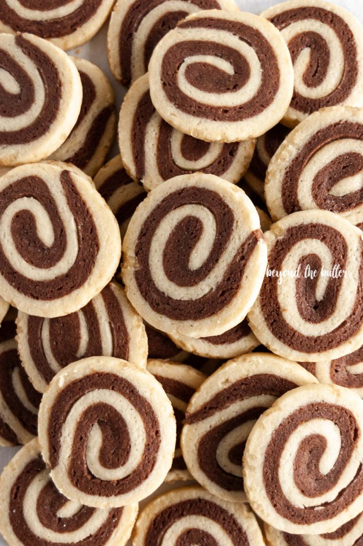 Overhead image of Chocolate Pinwheel Cookies   All images © Beyond the Butter™