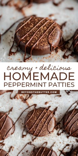 Pinterest images of homemade peppermint patties from Beyond the Butter®   All Images © Beyond the Butter®