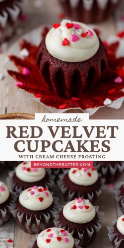 Pinterest images of homemade red velvet cupcakes from BeyondtheButter.com | All images © Beyond the Butter®
