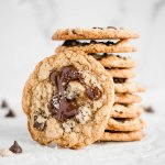 Oatmeal Chocolate Chip Salted Caramel Cookies | Overhead photo of oatmeal chocolate chip salted caramel cookies | Image and Copyright Credit: Beyond the Butter, LLC