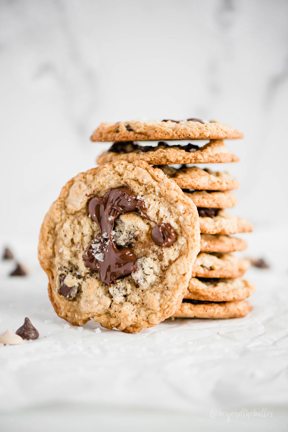 Oatmeal Chocolate Chip Salted Caramel Cookies   Overhead photo of oatmeal chocolate chip salted caramel cookies   Image and Copyright Credit: Beyond the Butter, LLC