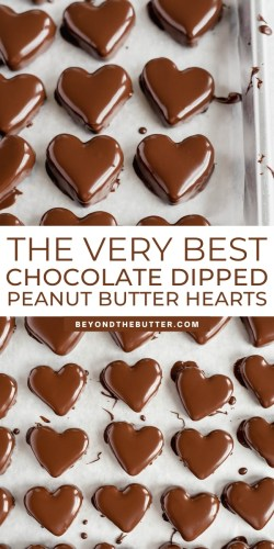 Pinterest images of chocolate covered peanut butter hearts from BeyondtheButter.com | All Images © Beyond the Butter®