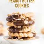 Chocolate Dipped Peanut Butter Cookies   Photo of a stack of chocolate dipped peanut butter cookies in a small bowl   Image and Copyright Policy: © Beyond the Butter, LLC