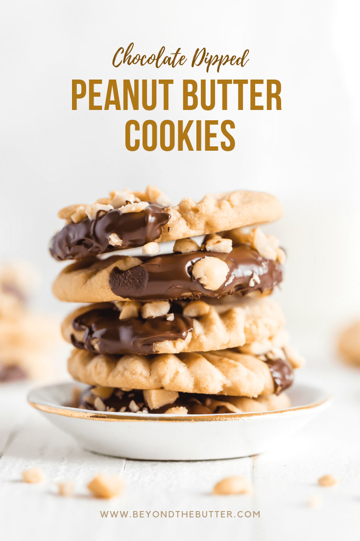 Chocolate Dipped Peanut Butter Cookies | Photo of a stack of chocolate dipped peanut butter cookies in a small bowl | Image and Copyright Policy: © Beyond the Butter, LLC