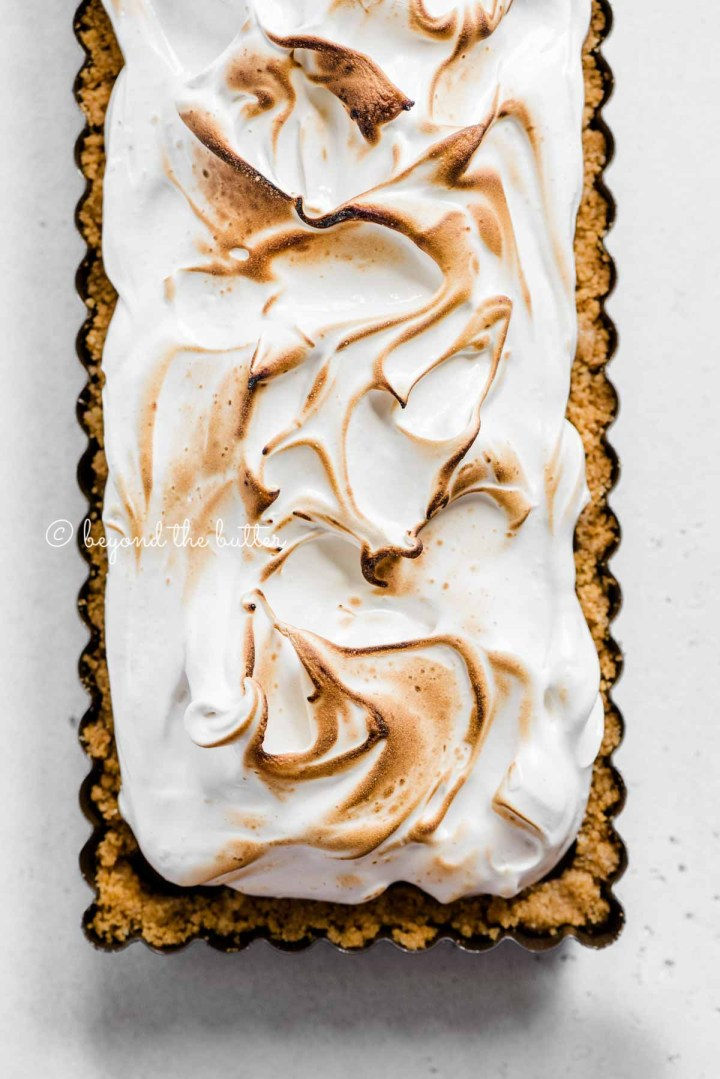 Overhead image of chocolate marshmallow tart | All Images © Beyond the BUtter™