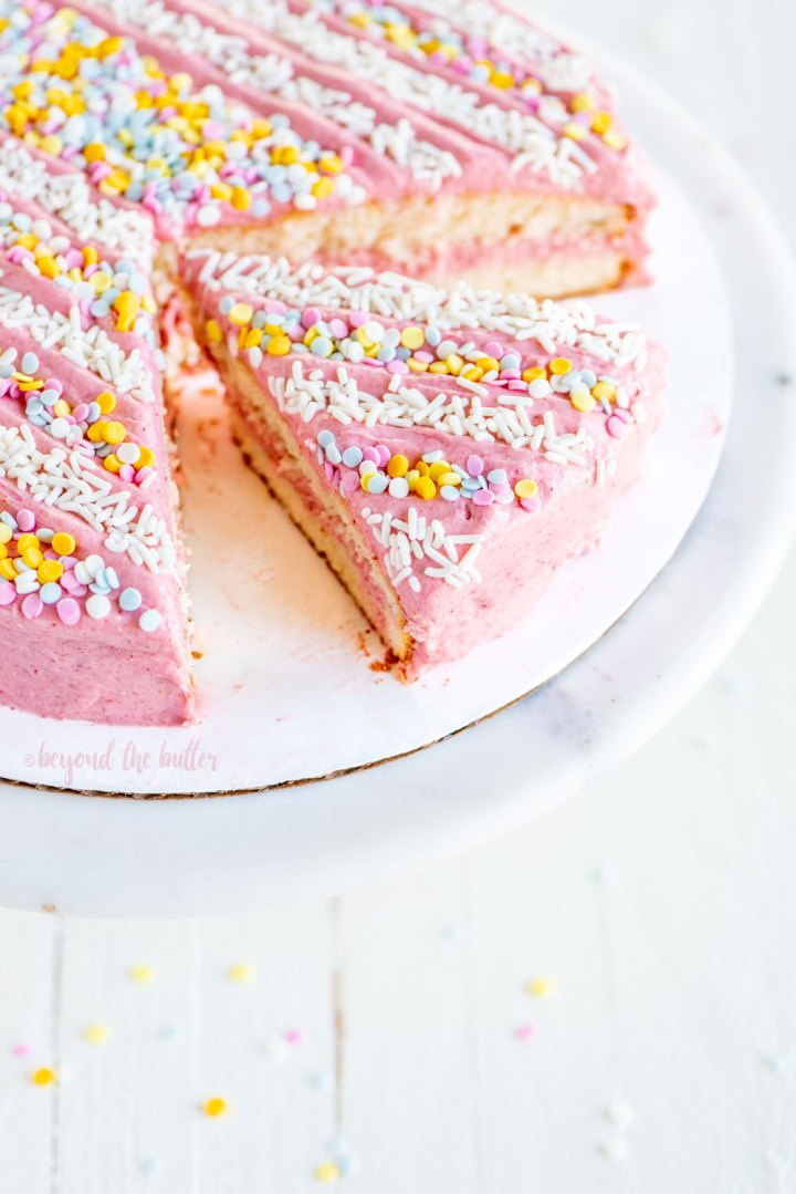 Vanilla Bean Cake with Strawberry Swiss Meringue Buttercream | All images © Beyond the Butter, LLC.