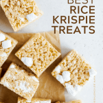 Pinterest image of the best rice krispie treats on parchment paper | All Images © Beyond the Butter™