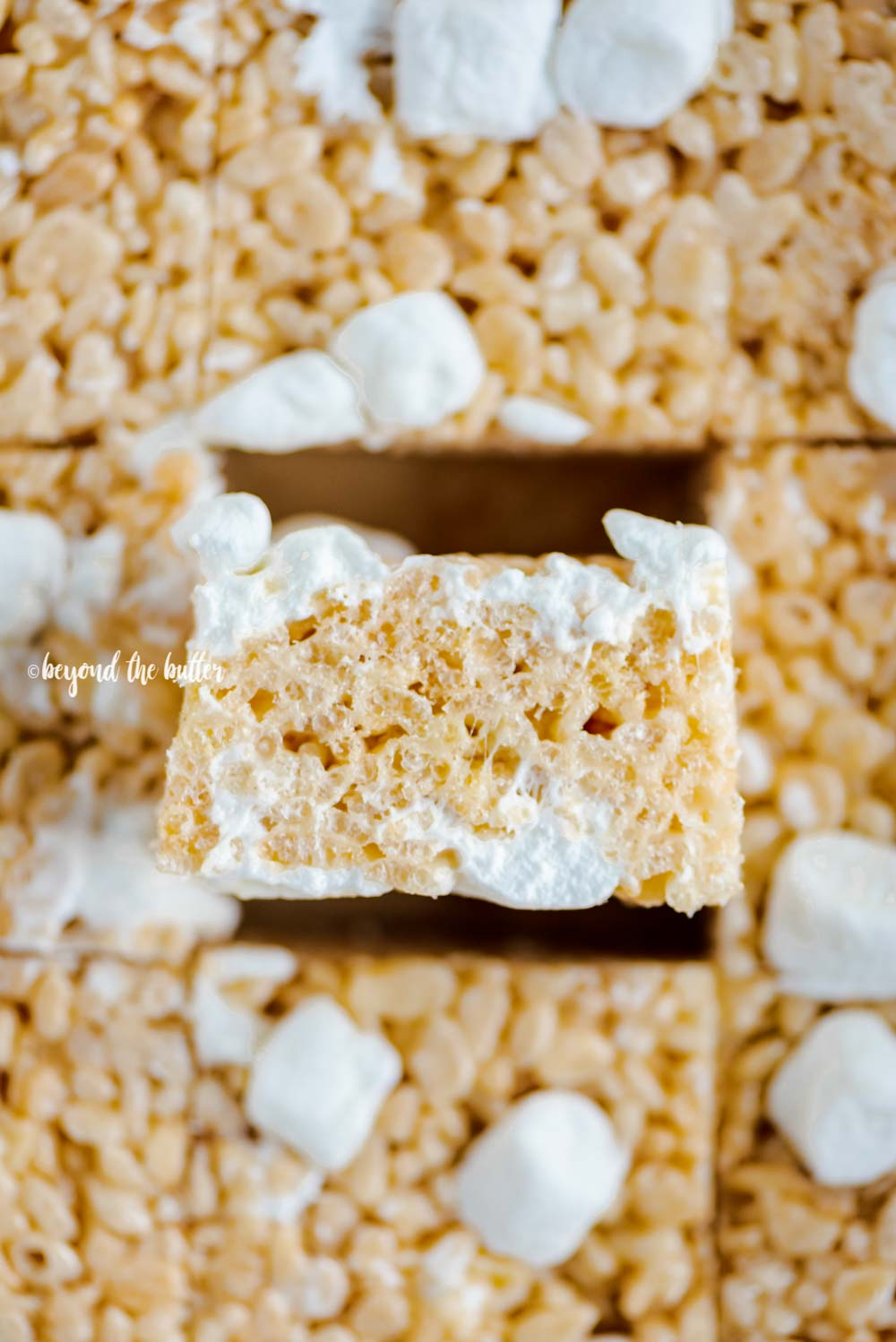 Closeup overhead image of just cut rice krispie treats with one placed on its side | All Images © Beyond the Butter™