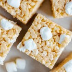 Overhead closeup image of the best rice krispie treats | All Images © Beyond the Butter™