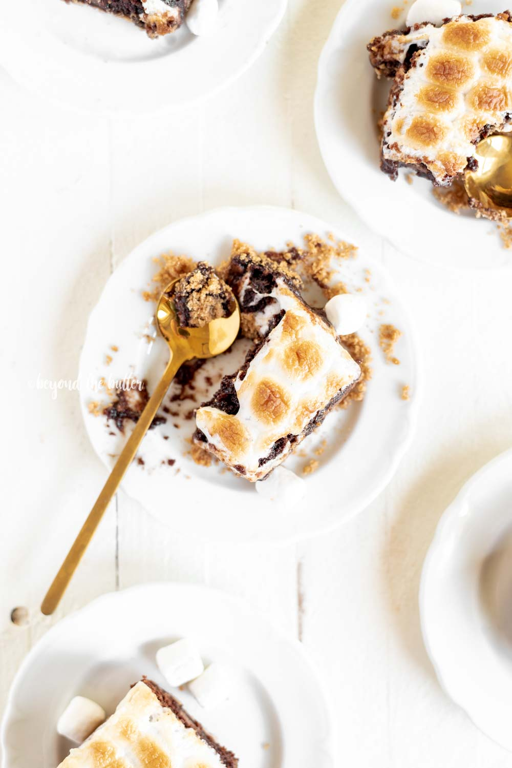 Classic S'mores Brownies with graham cracker crust | All Images © Beyond the Butter, LLC