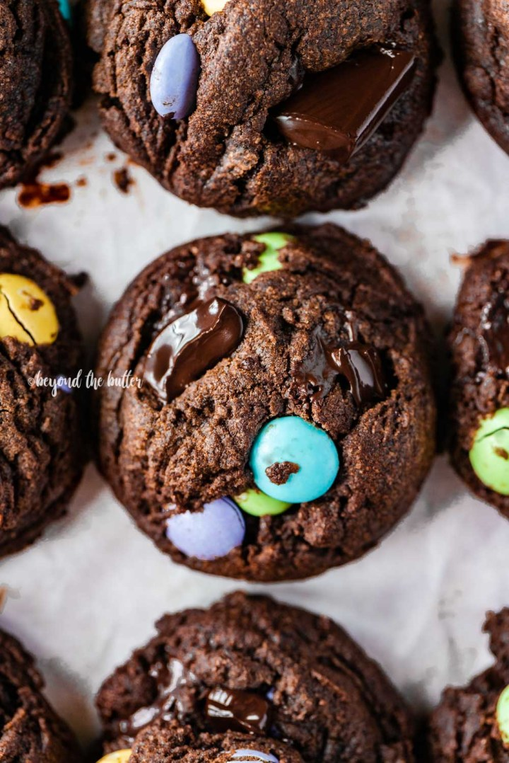 Closeup overhead image of double chocolate chunk cookies | All Images © Beyond the Butter™