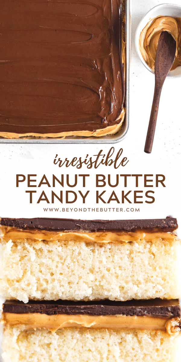 Pinterest image of irresistible peanut butter tandy kakes | All Images © Beyond the Butter™
