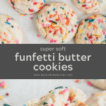 Pinterest image of funfetti gooey butter cookies | All Images © Beyond the Butter™