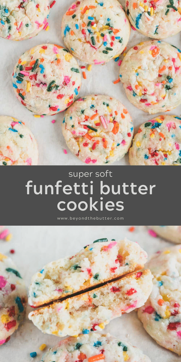 Pinterest image of super soft funfetti butter cookies | All Images © Beyond the Butter™
