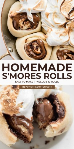 Pinterest images of homemade s'mores rolls from BeyondtheButter.com | All Images © Beyond the Butter®
