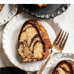 Pinterest image of chocolate glazed marble bundt cake slices | All Images © Beyond the Butter™