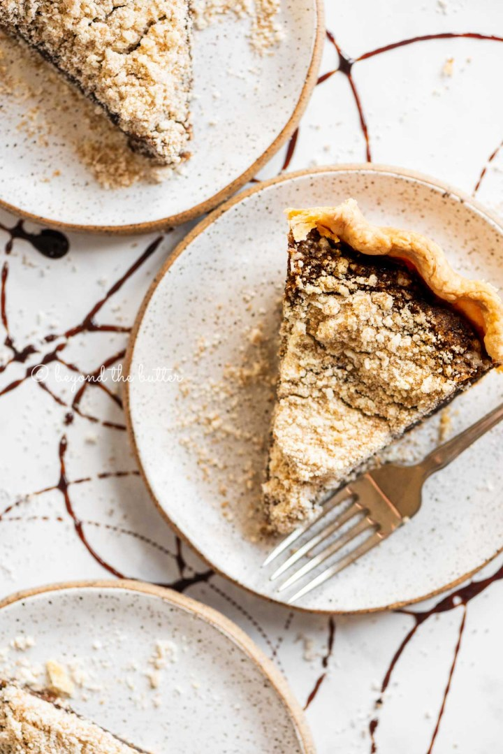 Slices of shoo fly pie on dessert plates | All Images © Beyond the Butter™